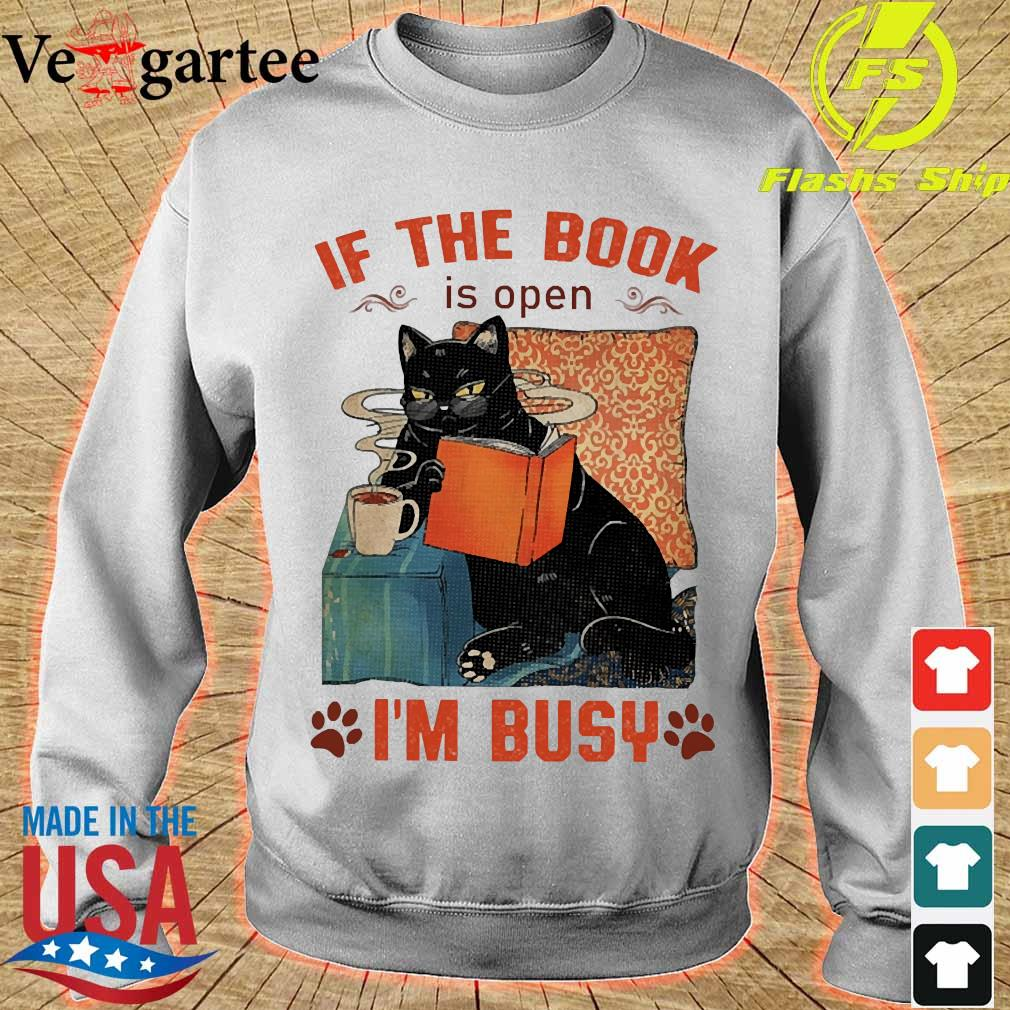 Cat read books If the book is open I'm busy s sweater