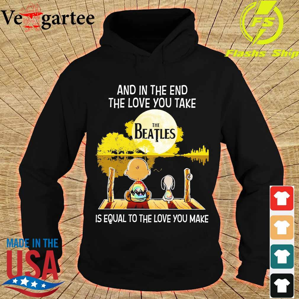 Charlie Brown and Snoopy and in the end the love You take is equal to the love You make the Beatles s hoodie