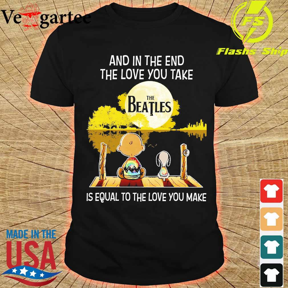 Charlie Brown and Snoopy and in the end the love You take is equal to the love You make the Beatles shirt