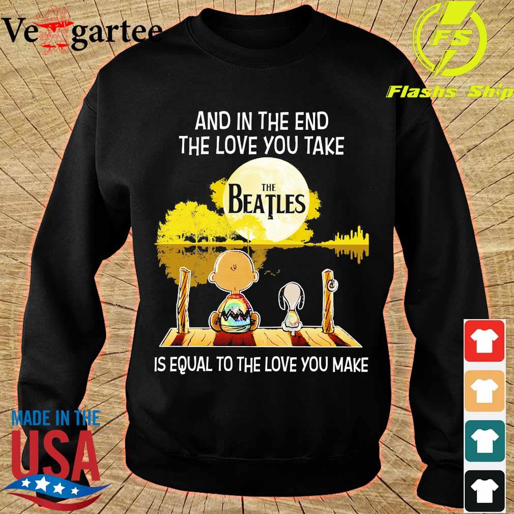 Charlie Brown and Snoopy and in the end the love You take is equal to the love You make the Beatles s sweater