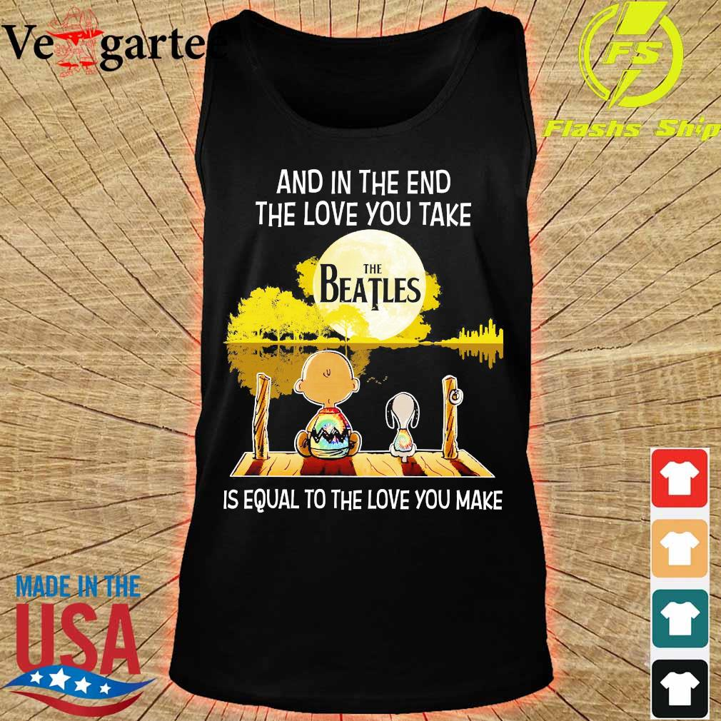 Charlie Brown and Snoopy and in the end the love You take is equal to the love You make the Beatles s tank top