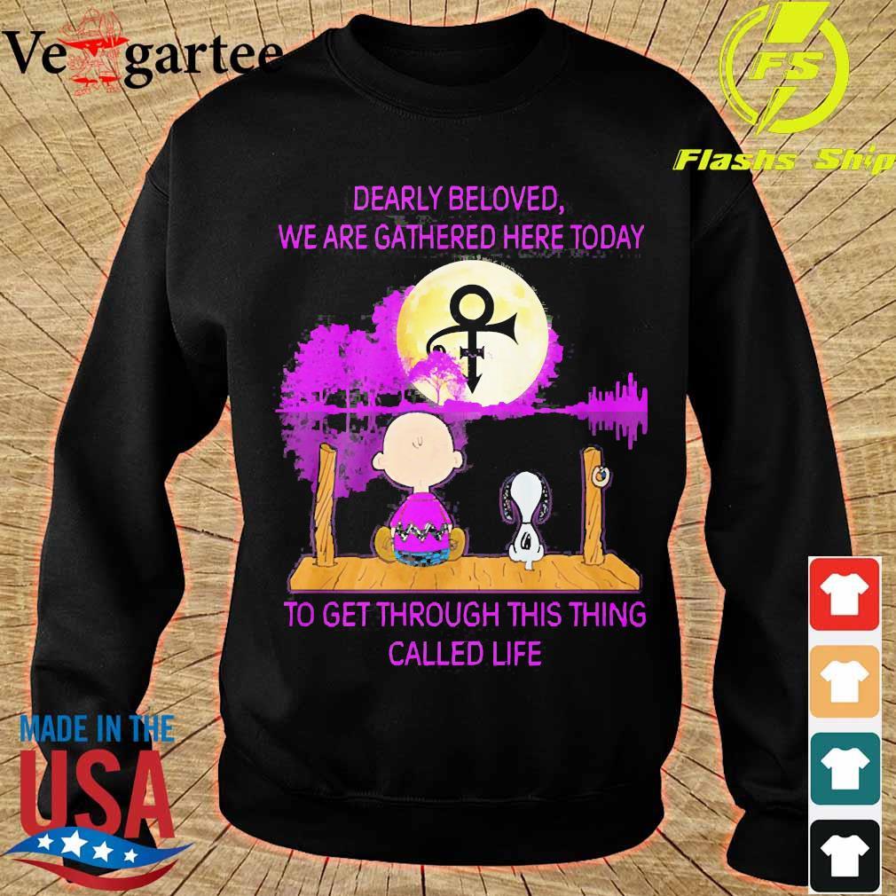 Charlie Brown and Snoopy dearly beloved We are gathered here today to get through this thing called life water s sweater