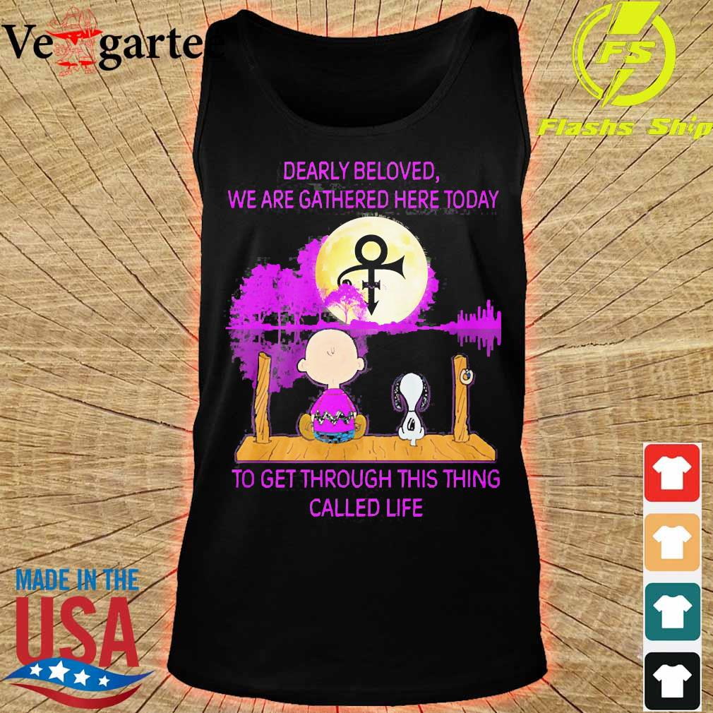 Charlie Brown and Snoopy dearly beloved We are gathered here today to get through this thing called life water s tank top