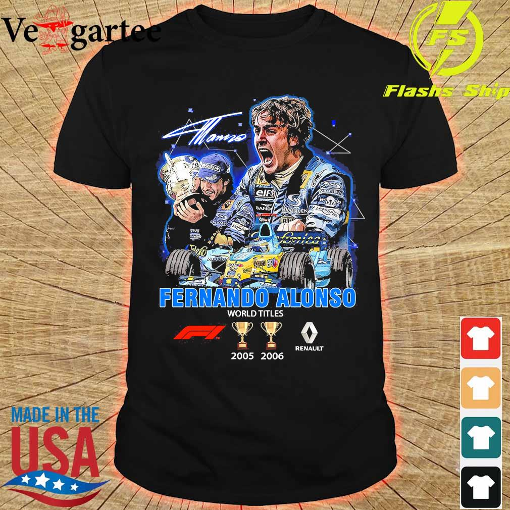 Fernando Alonso world Titles 2005 2006 signature shirt