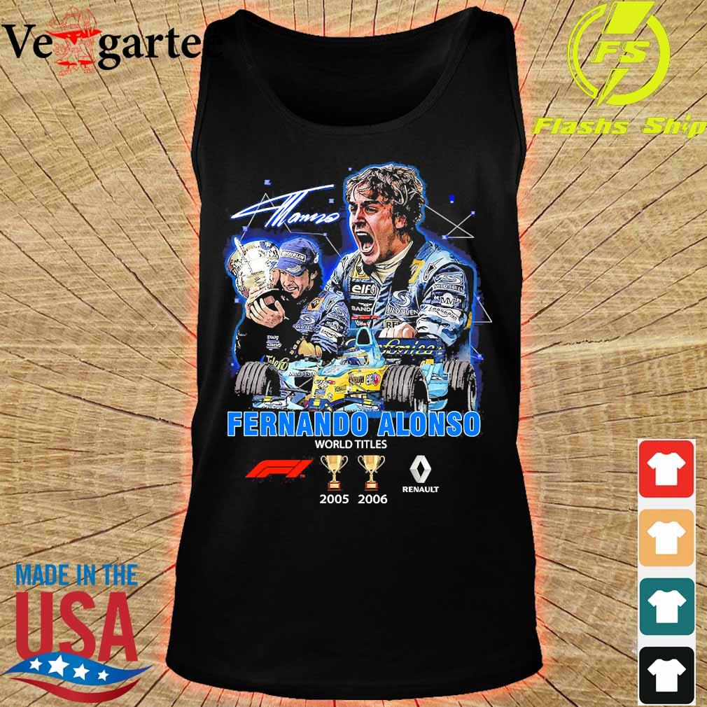 Fernando Alonso world Titles 2005 2006 signature s tank top