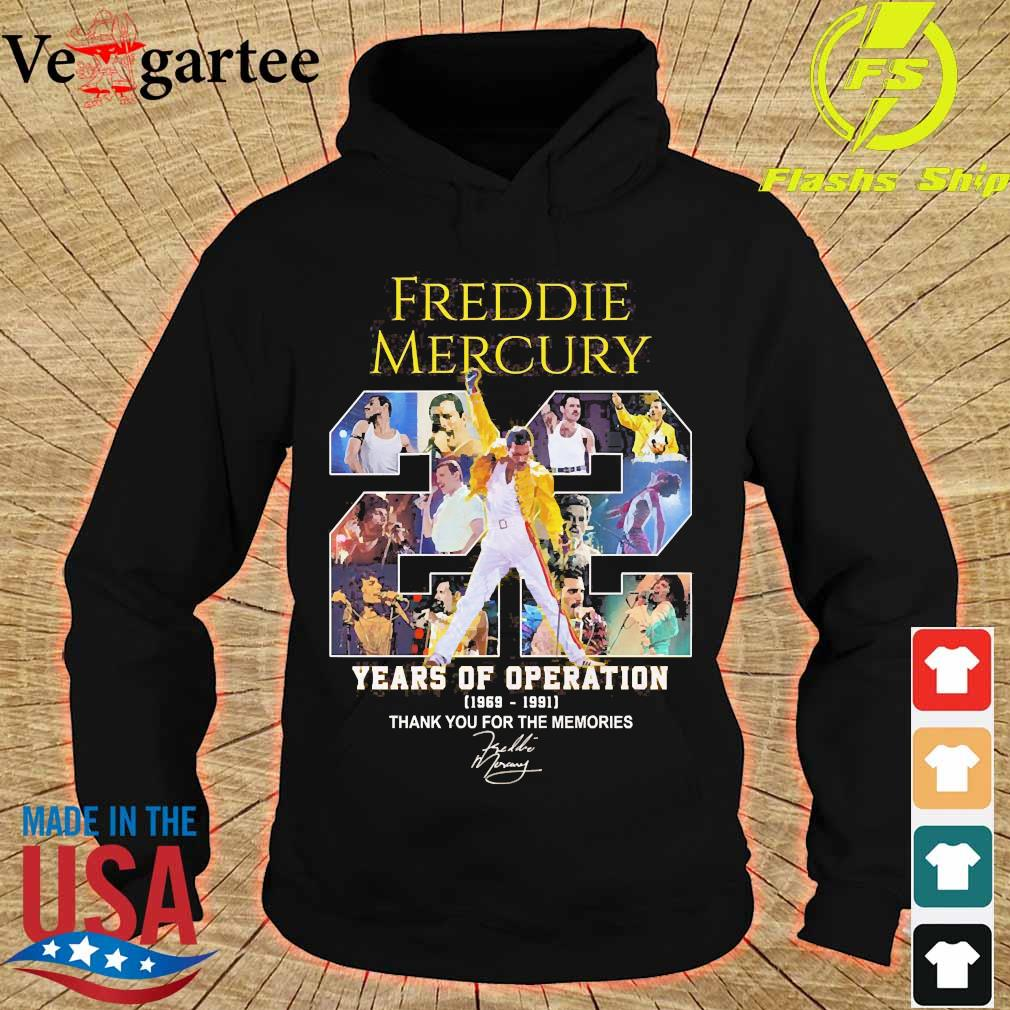 Freddie Mercury 22 years of operation 1969 1991 thank You for the memories signature s hoodie