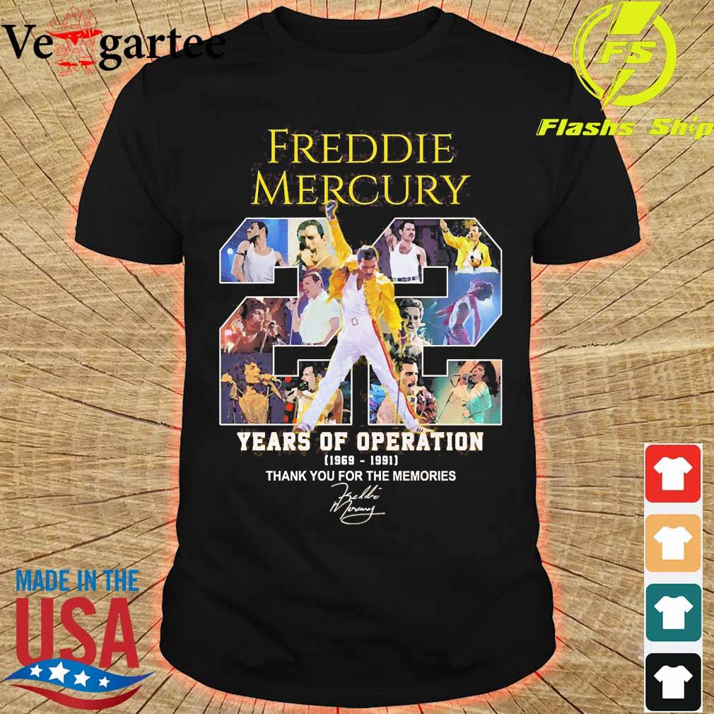 Freddie Mercury 22 years of operation 1969 1991 thank You for the memories signature shirt