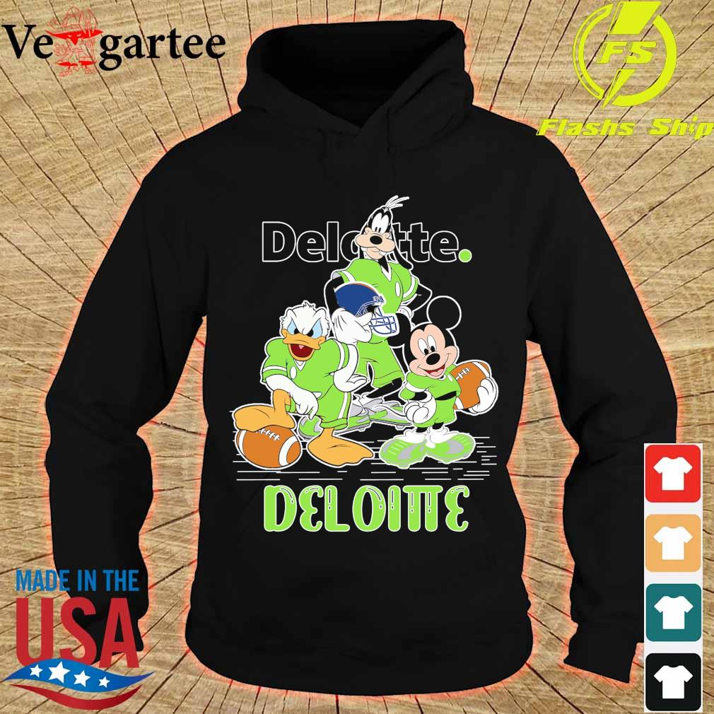 Goofy Donald Duck and Mickey Mouse football player Deloitte s hoodie