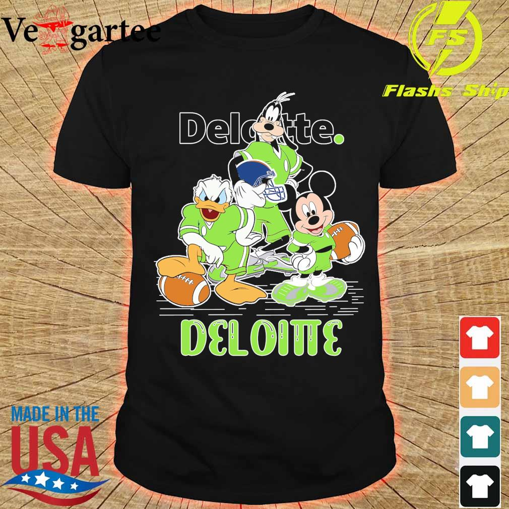 Goofy Donald Duck and Mickey Mouse football player Deloitte shirt