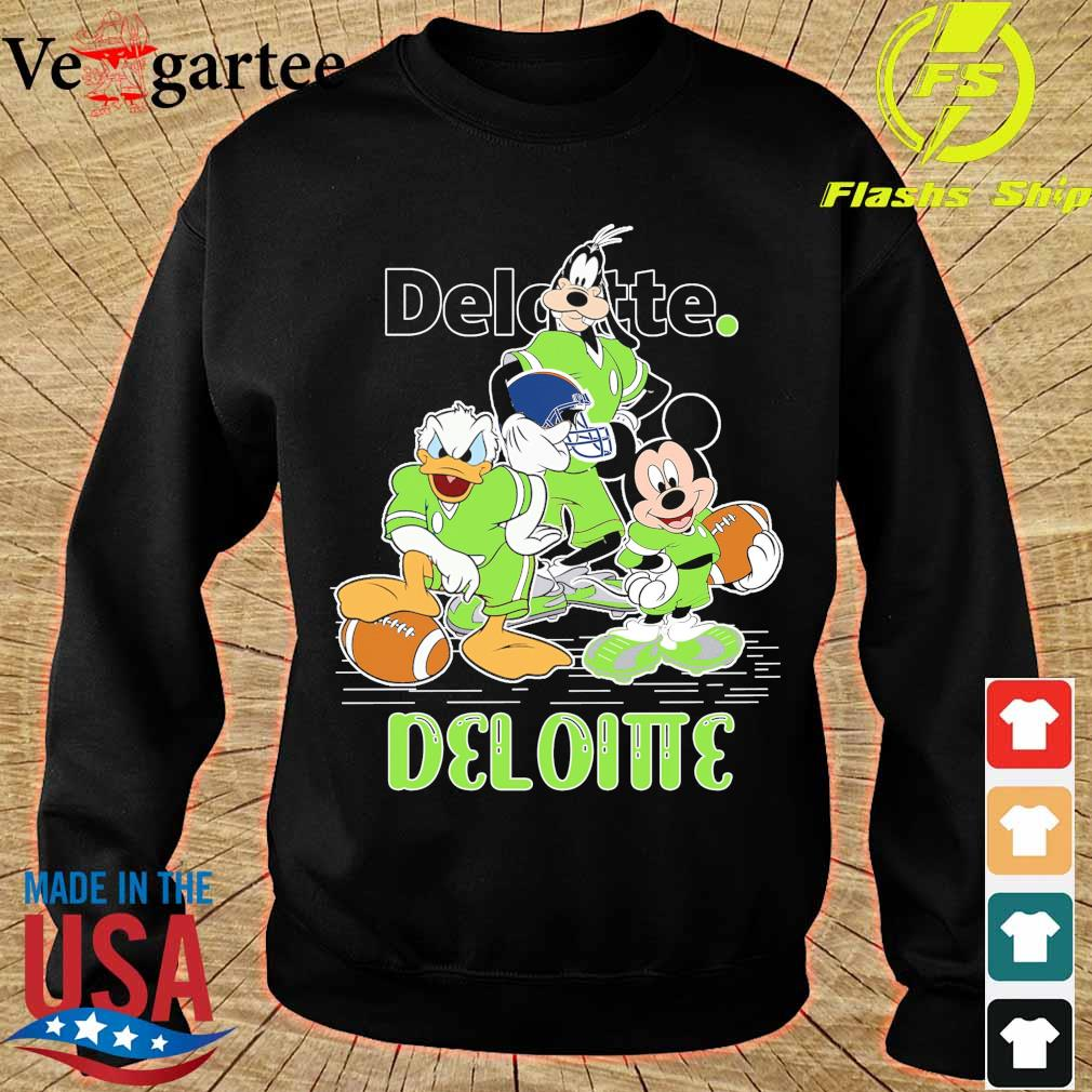 Goofy Donald Duck and Mickey Mouse football player Deloitte s sweater