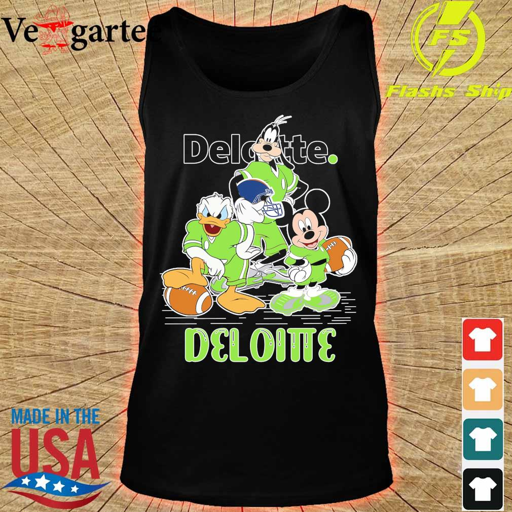 Goofy Donald Duck and Mickey Mouse football player Deloitte s tank top
