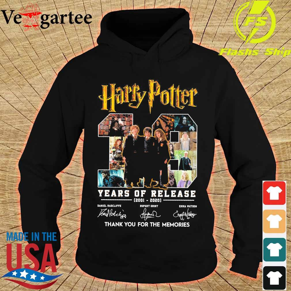 Harry Potter 19 Years of release 2001 2020 thank You for the memories signatures s hoodie