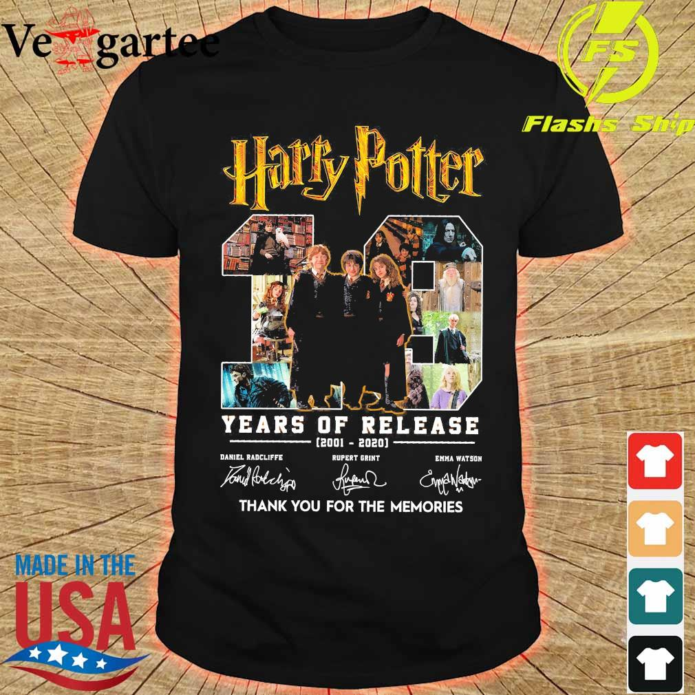 Harry Potter 19 Years of release 2001 2020 thank You for the memories signatures shirt