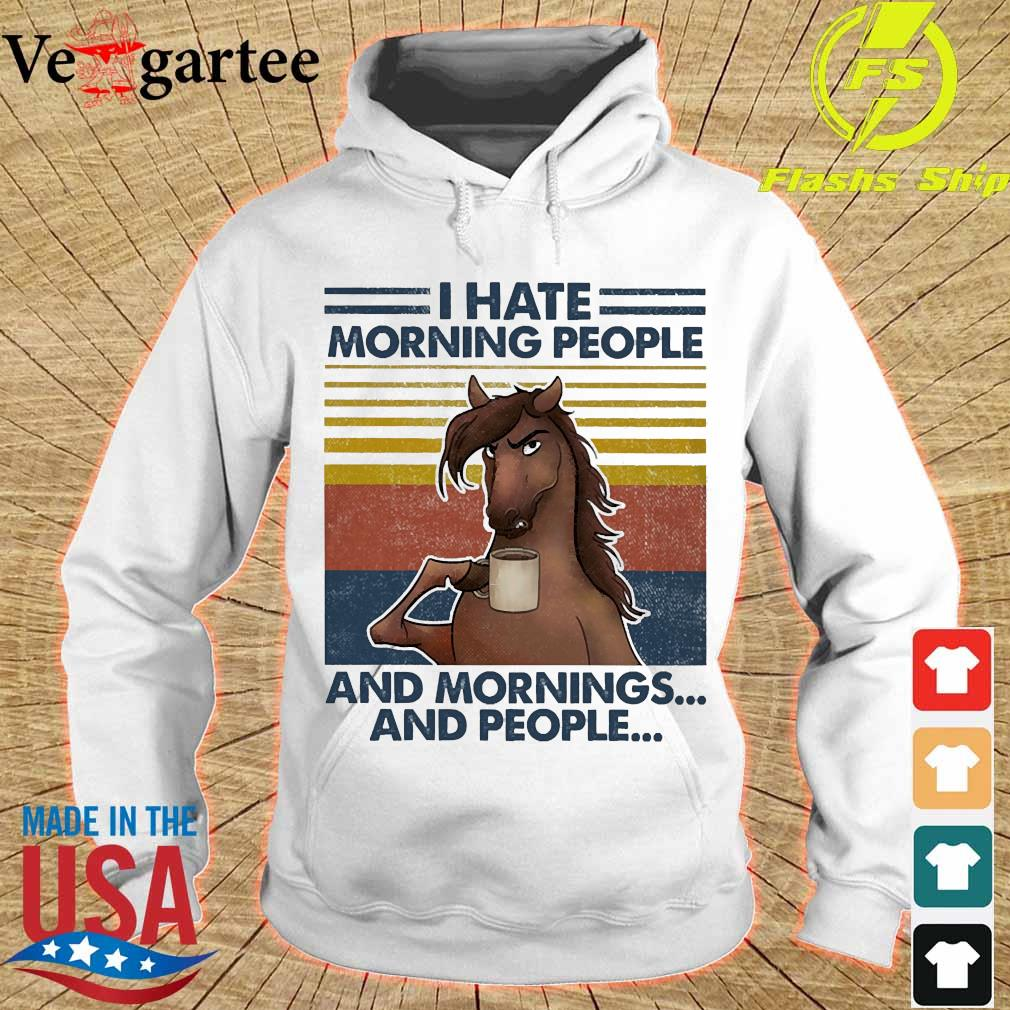 Horses drinking coffee I hate morning people and mornings and people vintage s hoodie