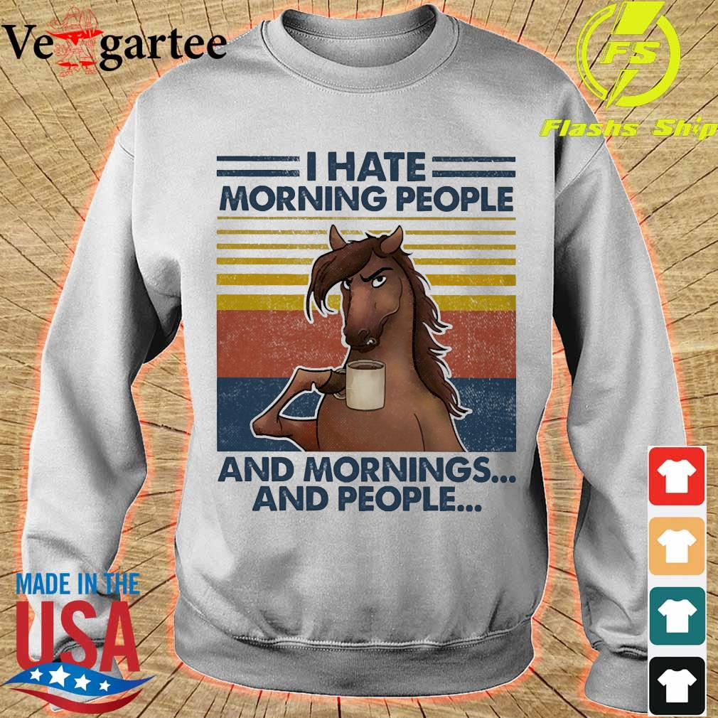 Horses drinking coffee I hate morning people and mornings and people vintage s sweater