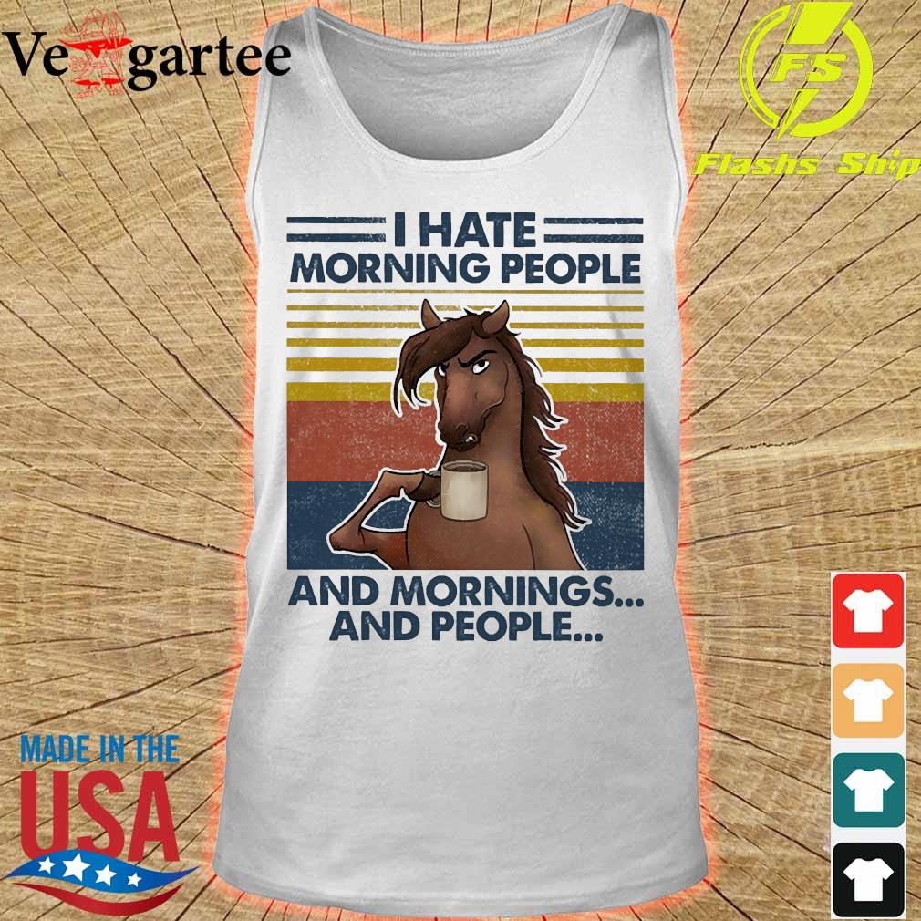 Horses drinking coffee I hate morning people and mornings and people vintage s tank top