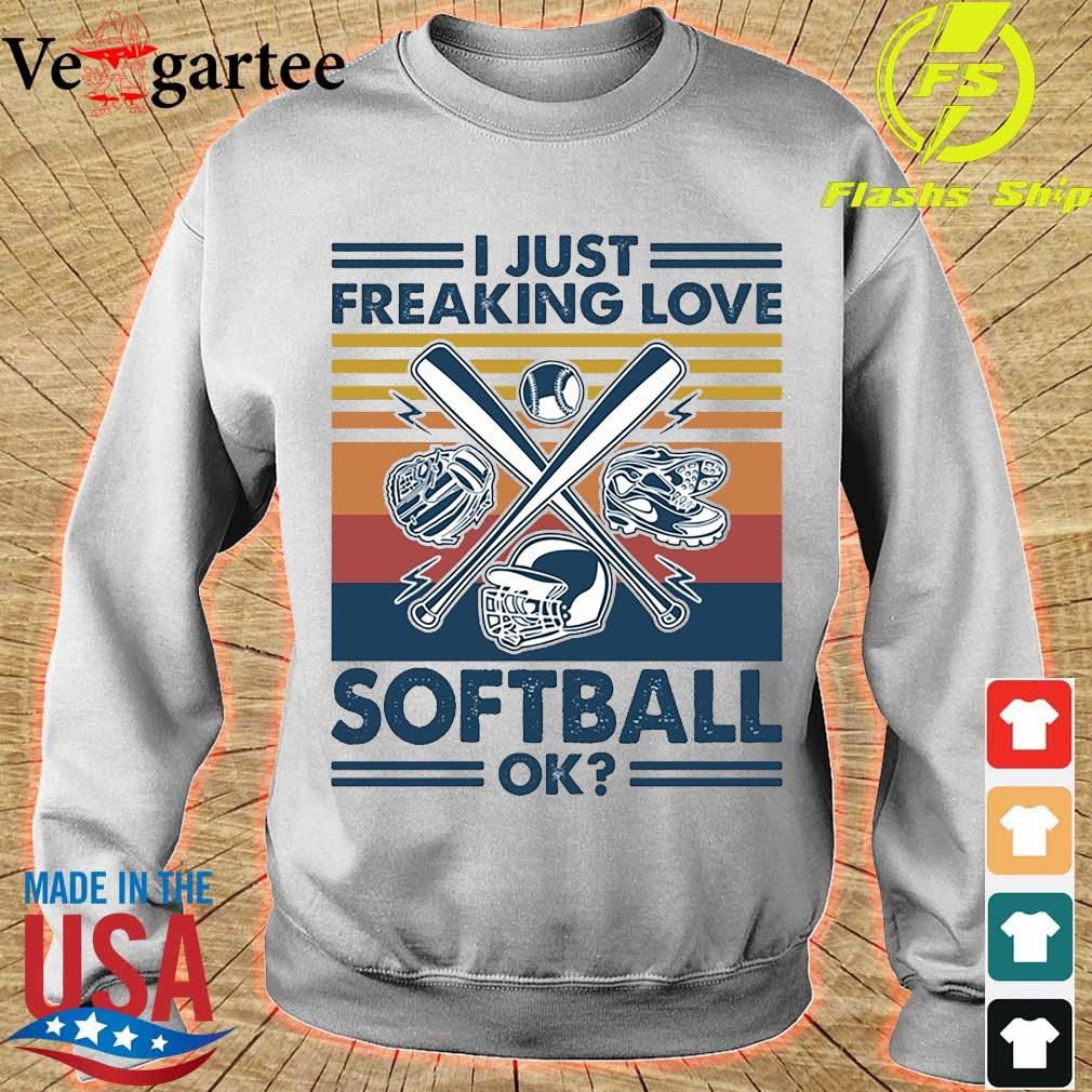 I just freaking love softball ok vintage s sweater