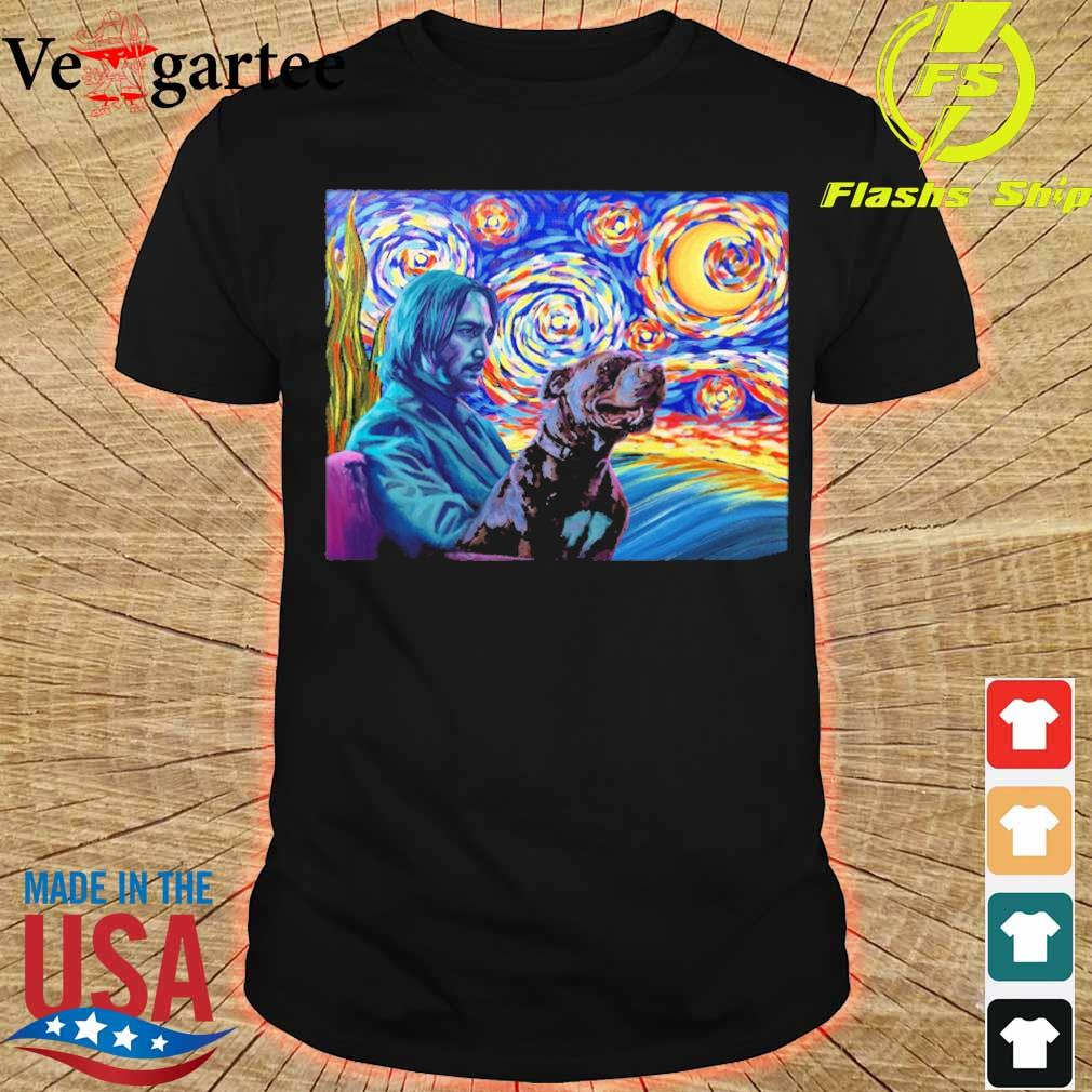 John wick and dog starry night shirt