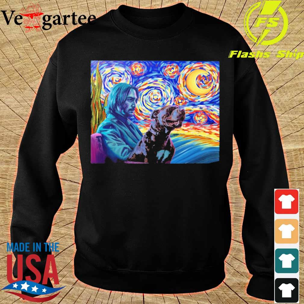 John wick and dog starry night s sweater