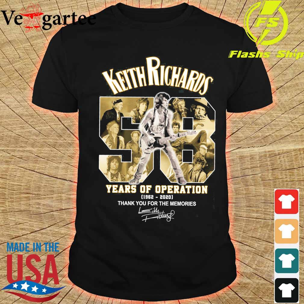Keith Richards 58 years of operation 1962 2020 thank You for the memories signatures shirt