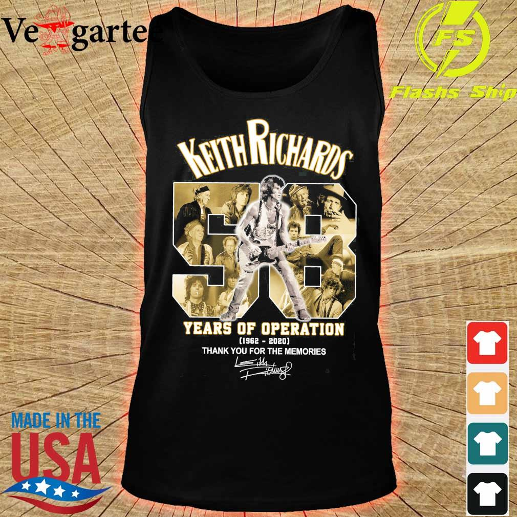 Keith Richards 58 years of operation 1962 2020 thank You for the memories signatures s tank top
