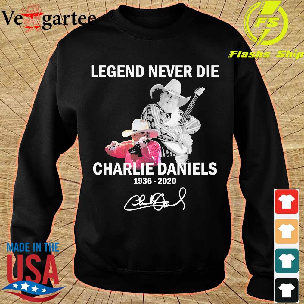 Legend never die Charlie Daniels 1936 2020 signature s sweater