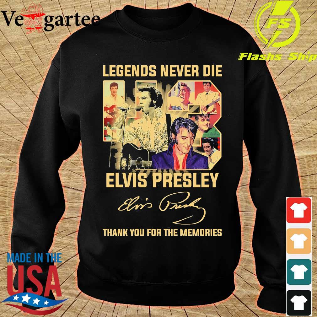 Legends never die 43 years Elvis Presley thank You for the memories signature s sweater