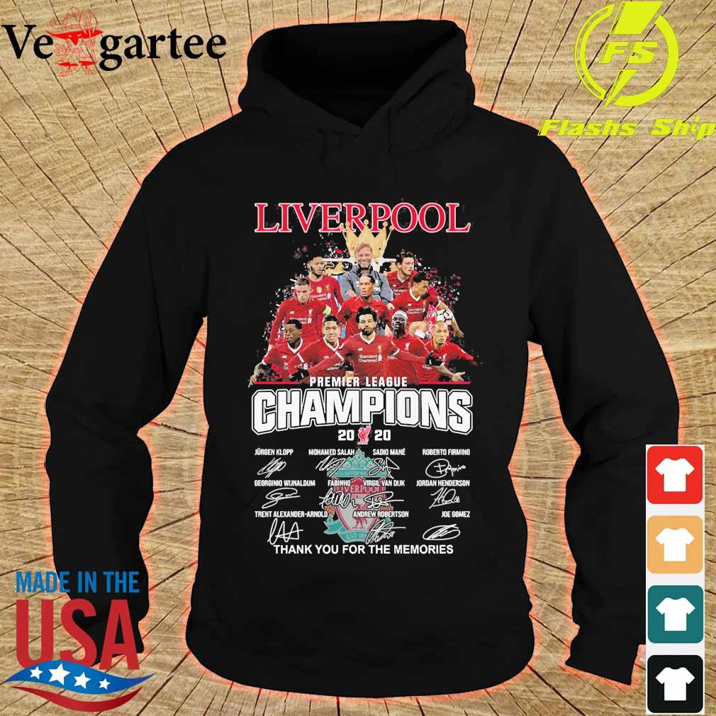 Liverpool F.C premier league champions 2020 thank You for the memories signatures s hoodie