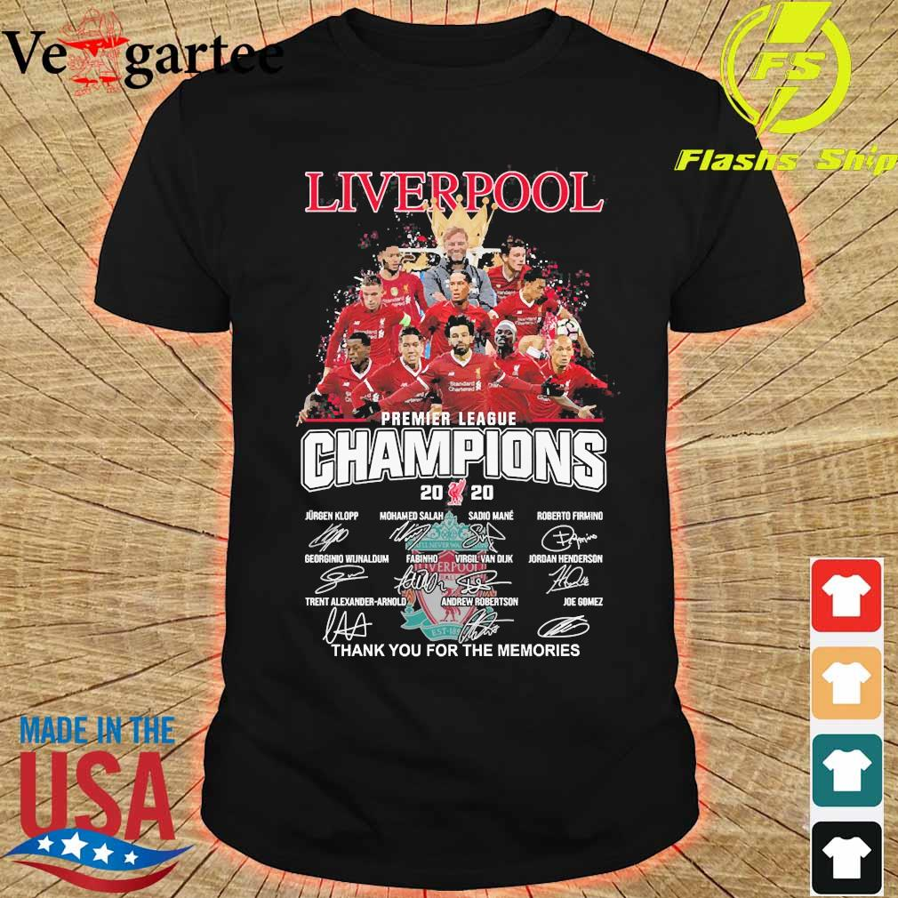 Liverpool F.C premier league champions 2020 thank You for the memories signatures shirt