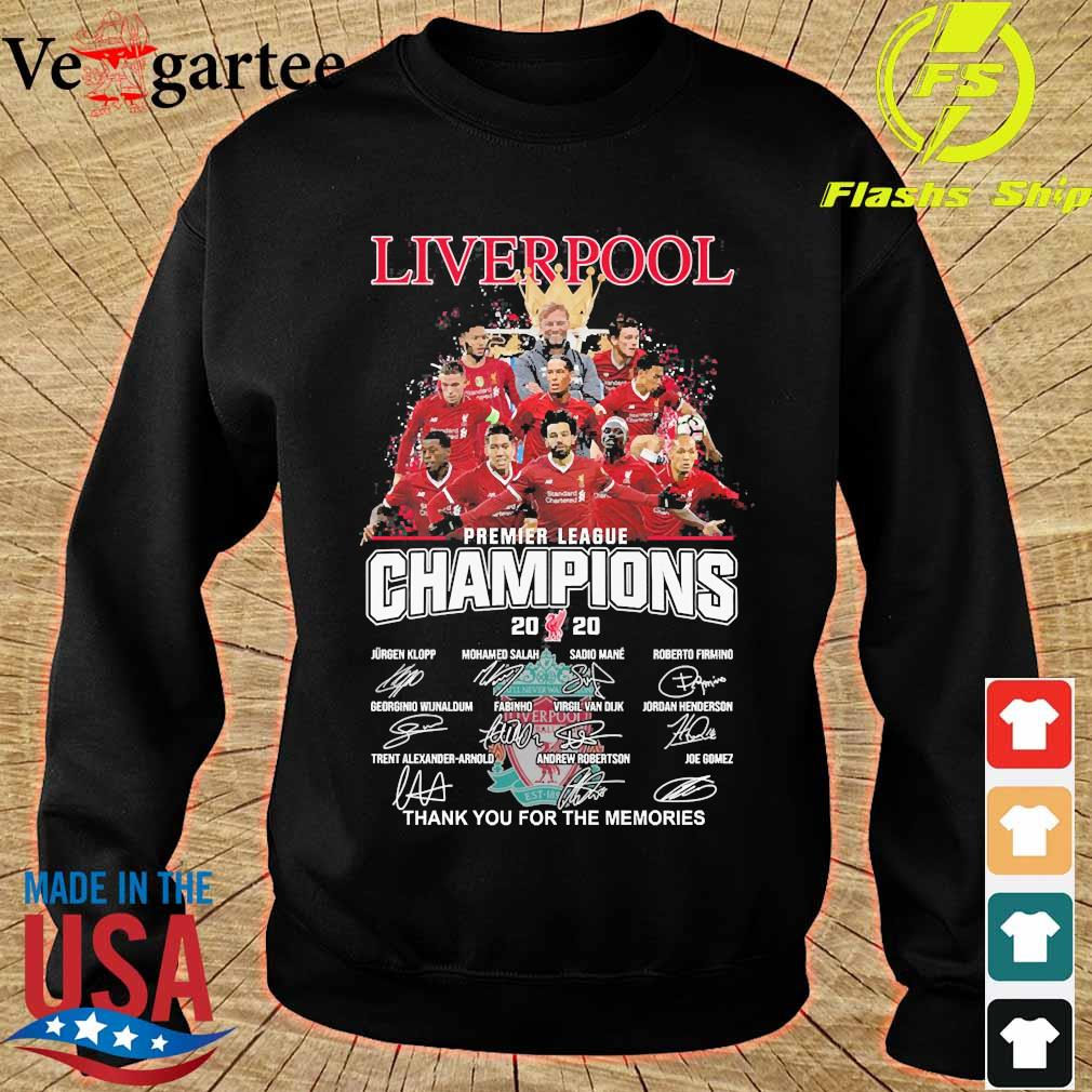 Liverpool F.C premier league champions 2020 thank You for the memories signatures s sweater