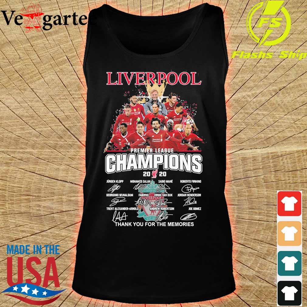 Liverpool F.C premier league champions 2020 thank You for the memories signatures s tank top