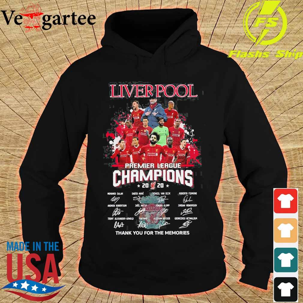 Liverpool premier league champions 2020 thank You for the memories signatures s hoodie