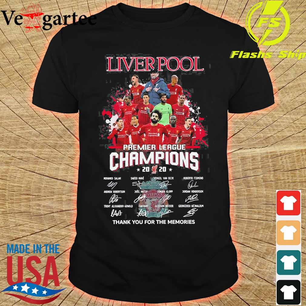 Liverpool premier league champions 2020 thank You for the memories signatures shirt