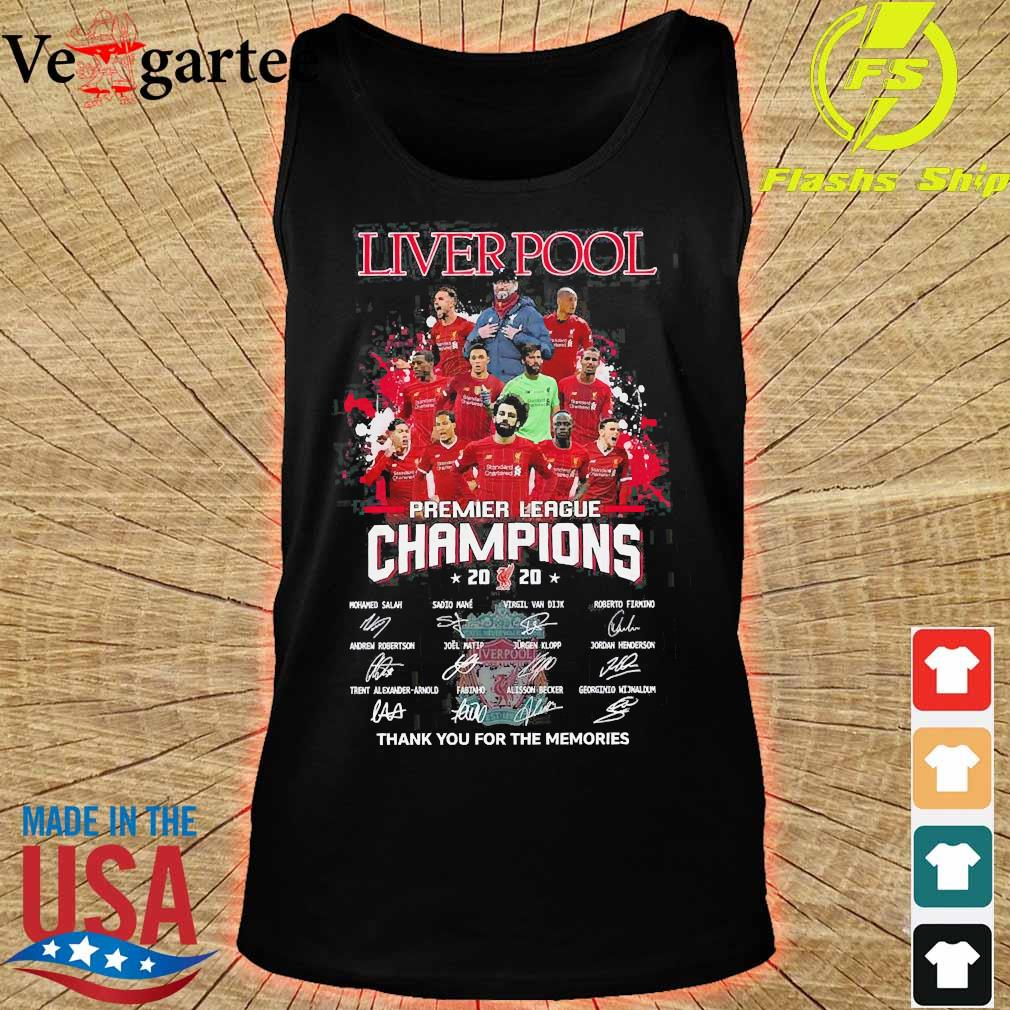 Liverpool premier league champions 2020 thank You for the memories signatures s tank top