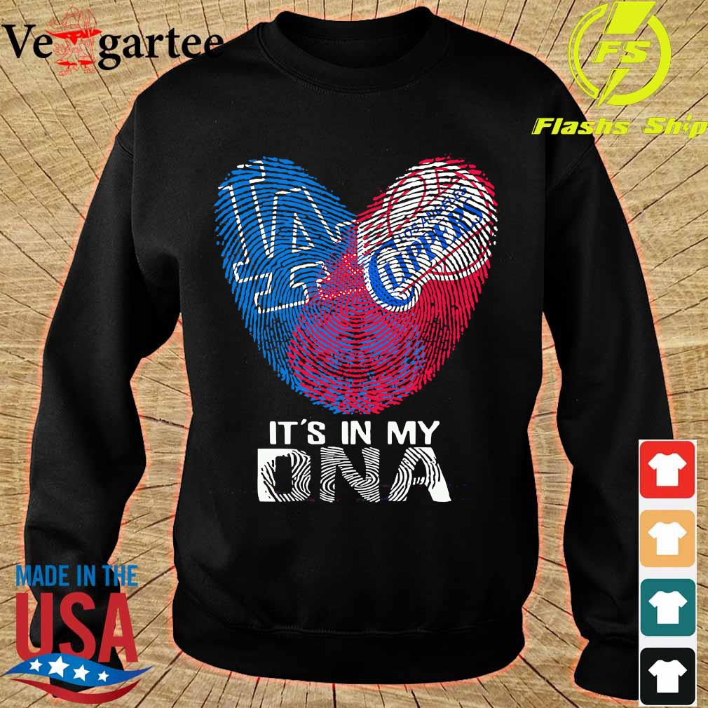 Los Angeles Clippers and Los Angeles Dodgers It's in my DNA heart s sweater