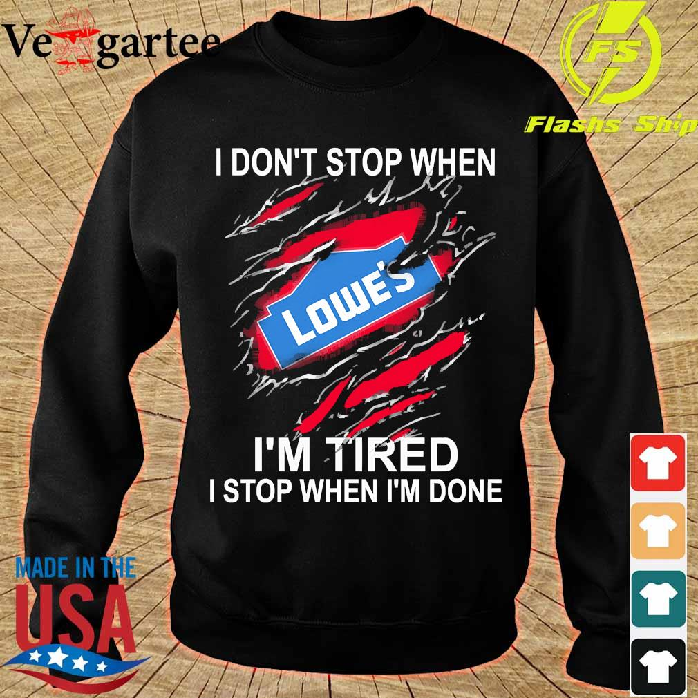 Lowe's I don't stop when I'm tired I stop when I'm done s sweater