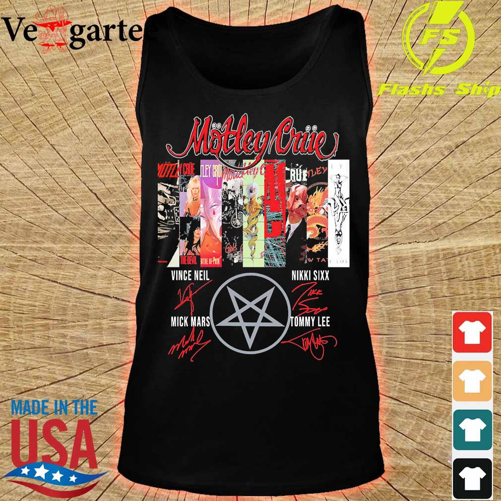 Motley Crue band member signatures s tank top