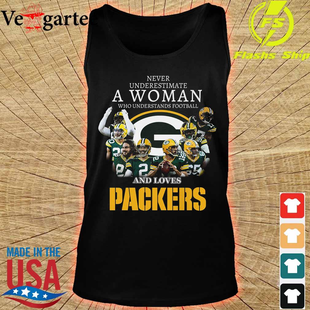Never underestimate a woman who understands football and loves Packers s tank top