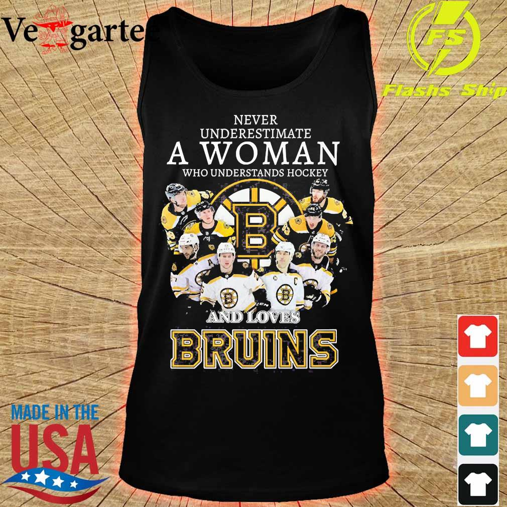 Never underestimate a woman who understands hockey and loves Bruins s tank top