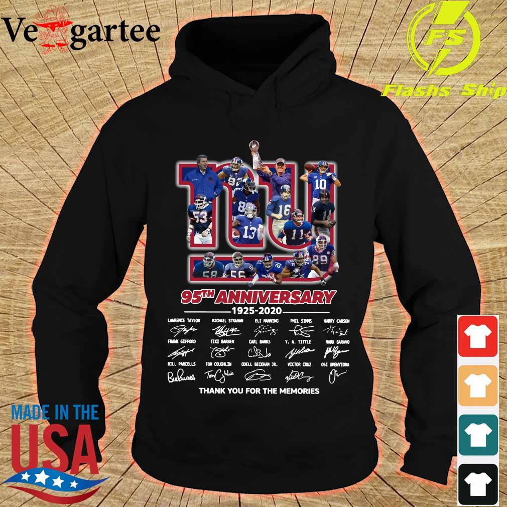 New York Giants 95th anniversary 1925 2020 thank You for the memories signatures s hoodie