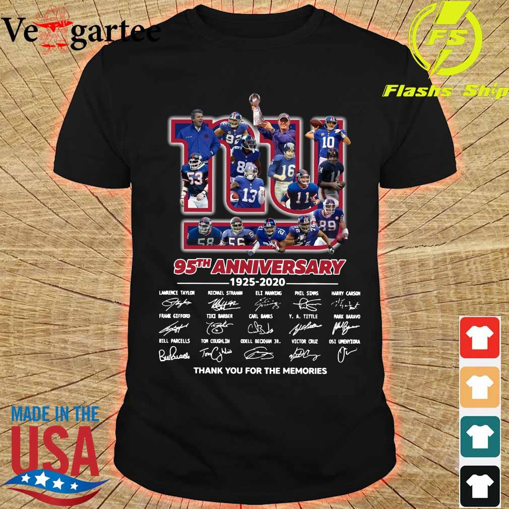 New York Giants 95th anniversary 1925 2020 thank You for the memories signatures shirt