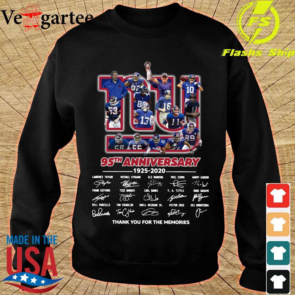 New York Giants 95th anniversary 1925 2020 thank You for the memories signatures s sweater