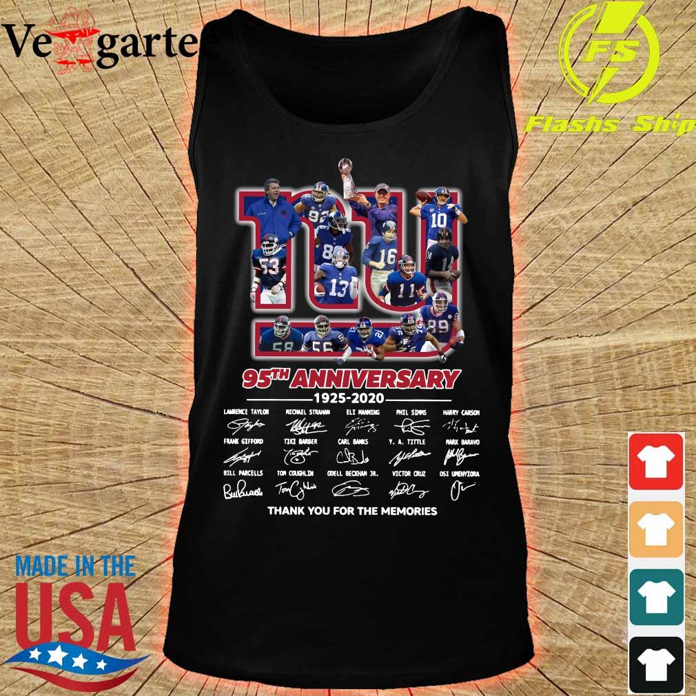 New York Giants 95th anniversary 1925 2020 thank You for the memories signatures s tank top