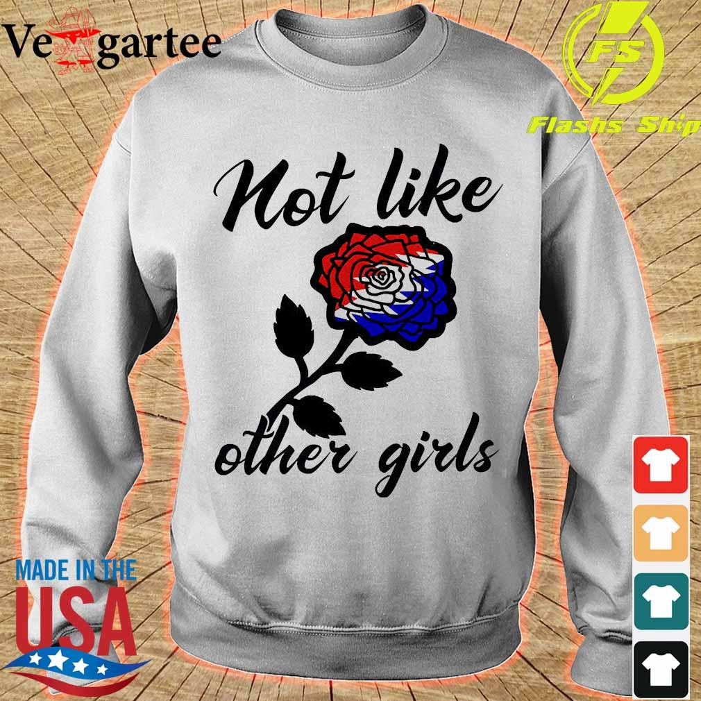 Not like other girls Rose red white and blue s sweater