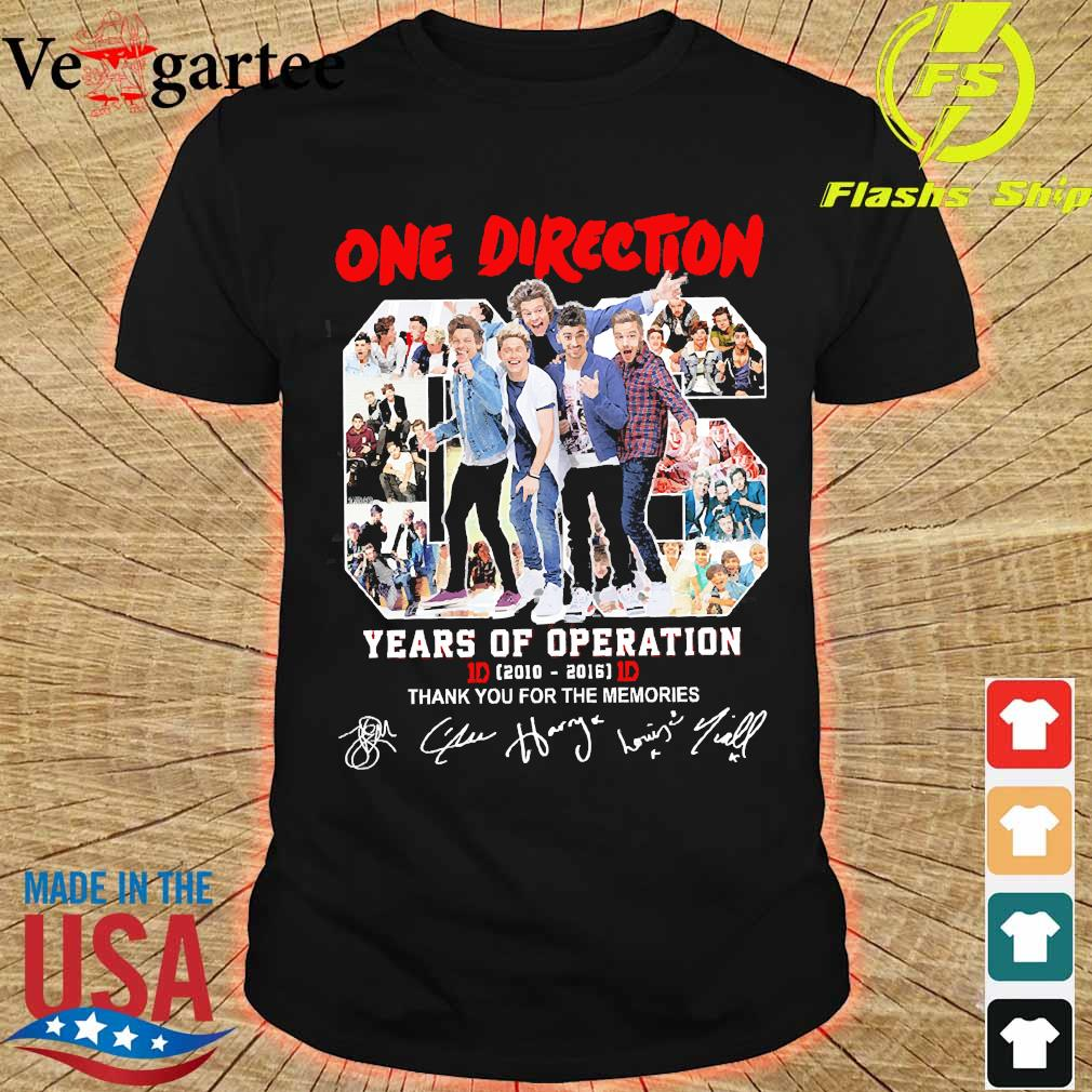 One Direction 06 years of operation 2010 2016 thank You for the memories shirt