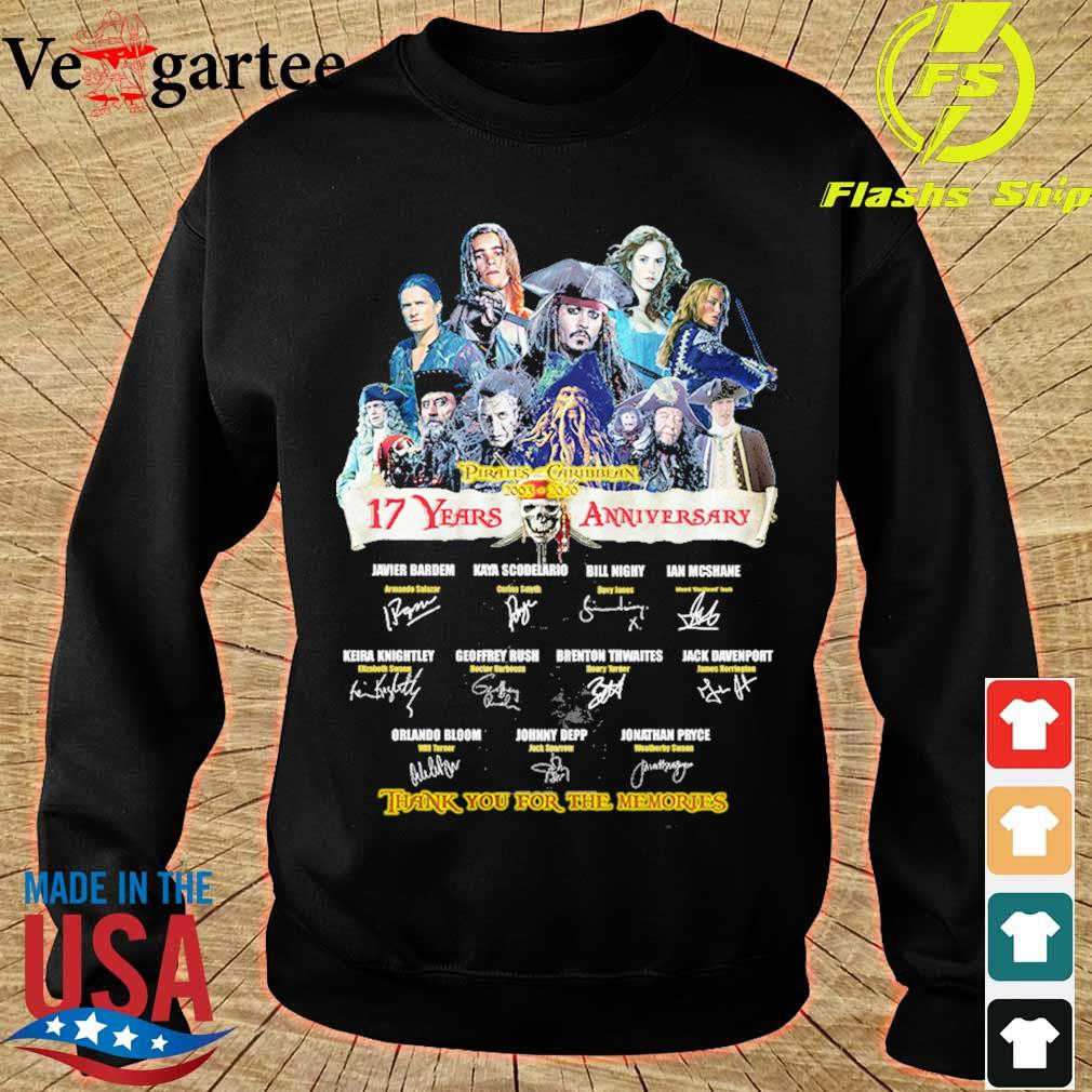 Pirates Caribbean 2003 2020 17 Years anniversary thank You for the memories signature s sweater