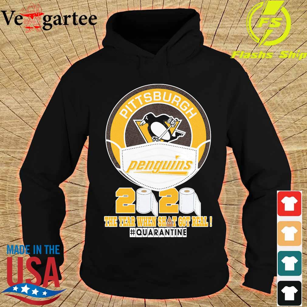 Pittsburgh Penguins hockey mask 2020 the year when shit got real quarantine s hoodie