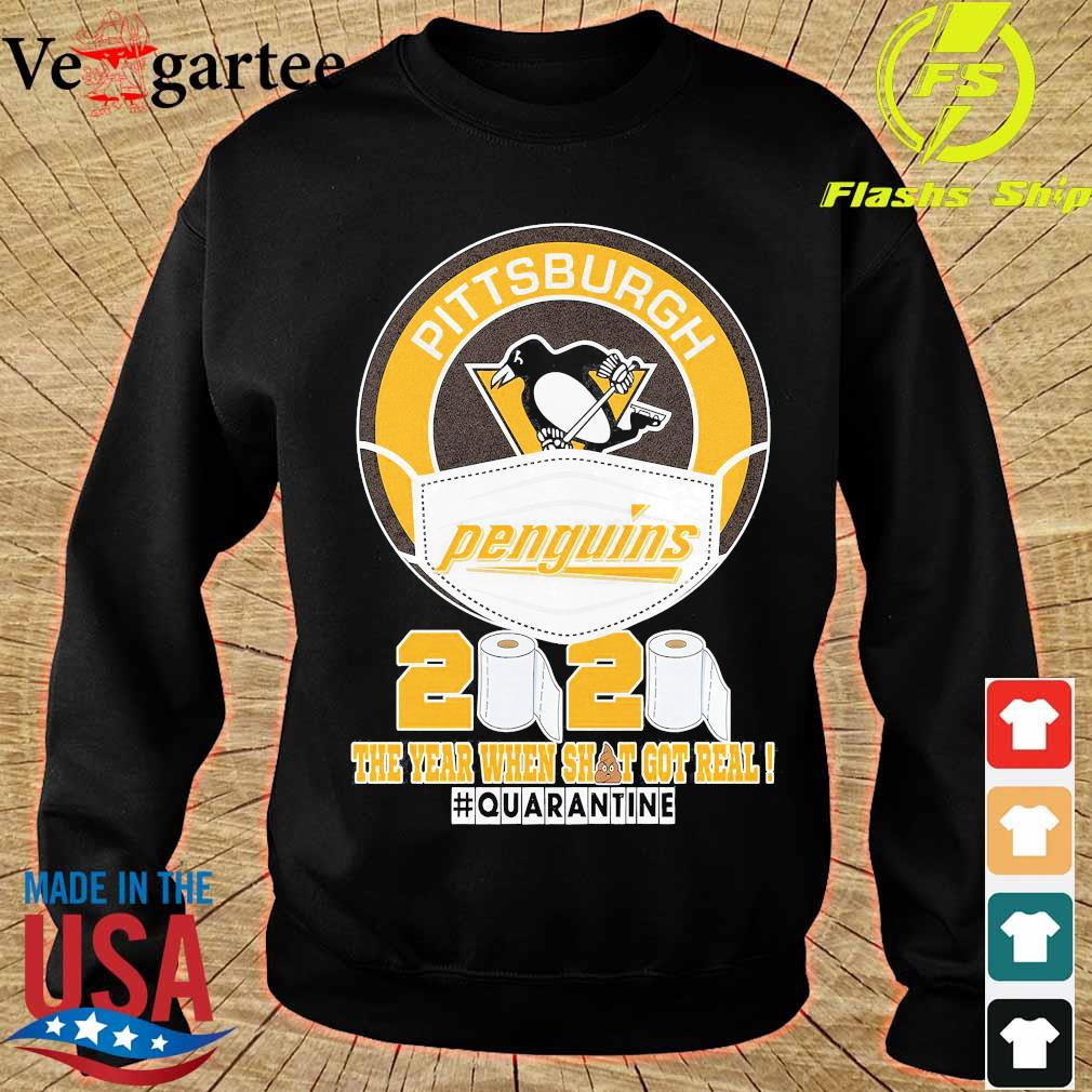 Pittsburgh Penguins hockey mask 2020 the year when shit got real quarantine s sweater
