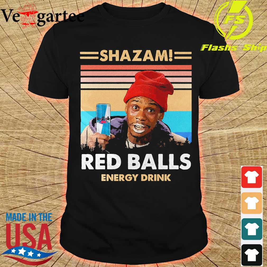 Shazam red balls energy drink vintage shirt
