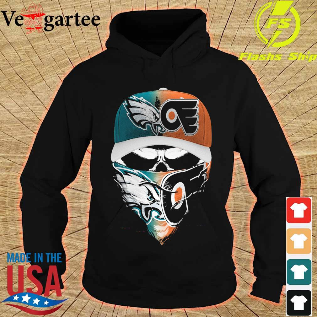 Skull face mask Eagles and Philadelphia Flyers logo s hoodie